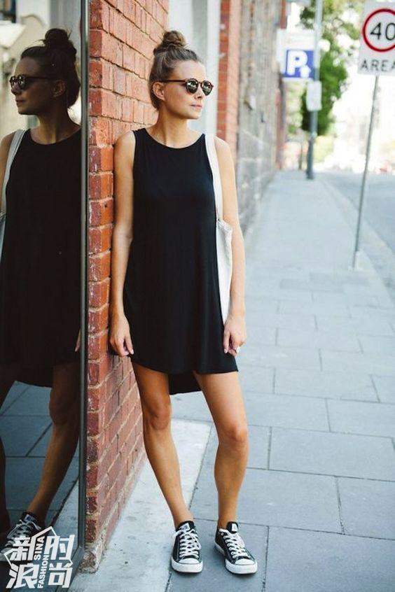 小黑裙街拍