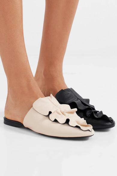 Mercedes Castillo的荷叶边皮拖鞋
