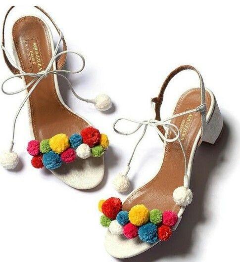 Aquazzura白色花球绑带鞋