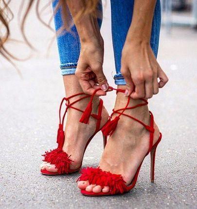 Aquazzura红色流苏绑带高跟鞋