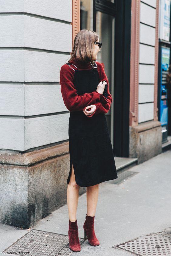 红色毛衣搭配黑色背带裤街拍