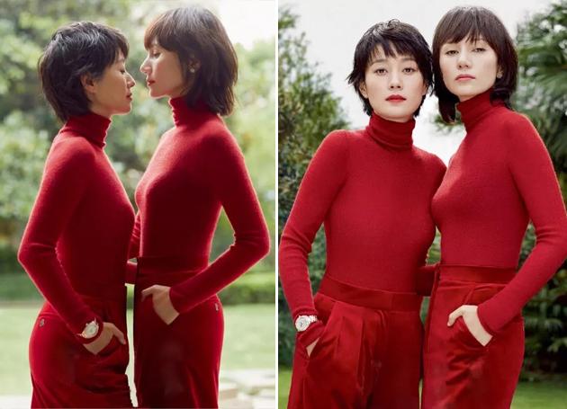 袁泉,马伊琍穿一身红拍摄时尚大片