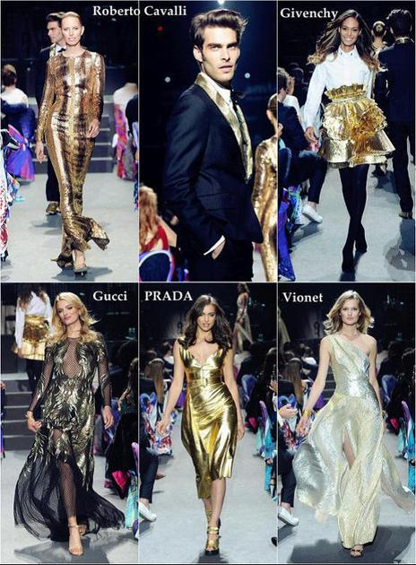 "amfAR以""金色""为主题的时装秀"
