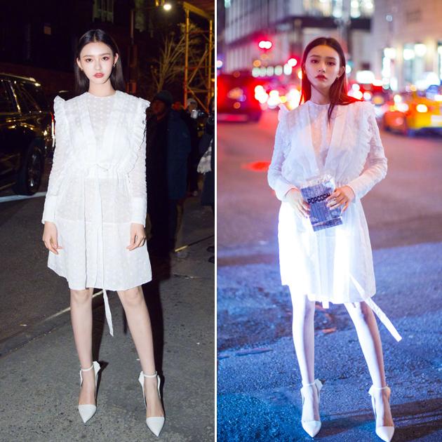 白色收腰荷叶边连衣裙