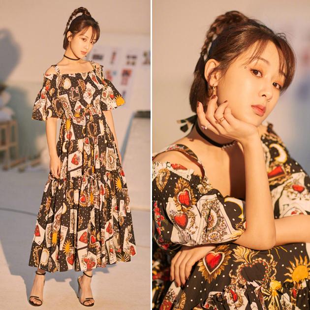 杨紫穿印花连衣裙