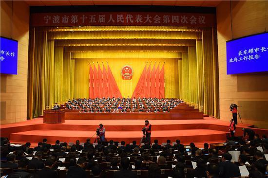 图为宁波市第十五届人民代表大会第四次会议现场。何蒋勇摄