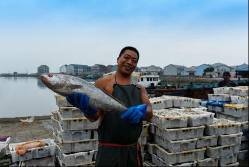 图为渔民展示捕捞海鲜