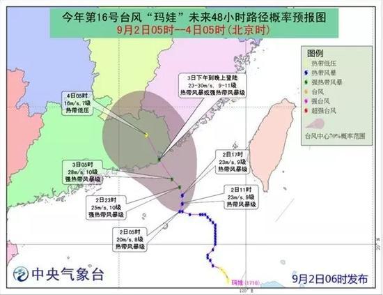 """预计,""""玛娃""""将以每小时10公里左右的速度向北偏西方向移动,强度逐渐加强,并向广东汕尾到福建漳浦一带沿海靠近。"""
