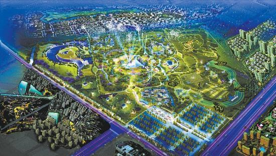 集市街景鸟瞰规划图。
