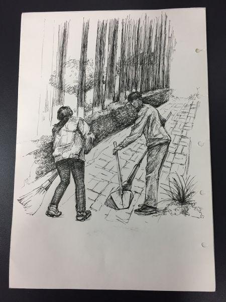 """学生党员绘制的""""最美劳动者""""作品。 由校方供图"""