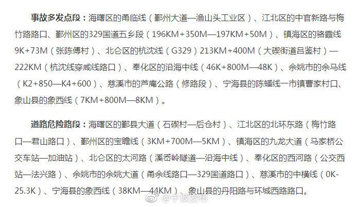 宁波交警发布春运安全提醒 经过这20个地方要当心