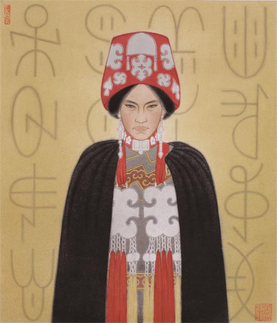 图为顾生岳的《彝族女子》。宁波美术馆供图