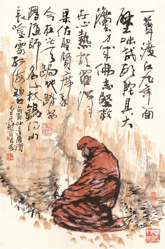 图为吴永良的《达摩面壁图》。宁波美术馆供图