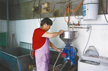 2。早稻米浸透后拌入浆板用机器研磨成米浆。