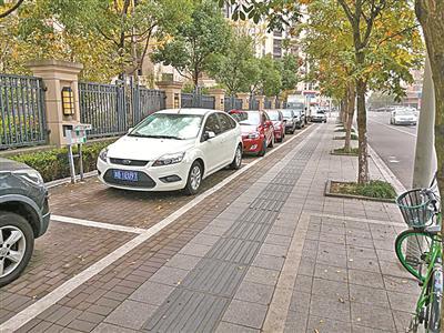 悦兴花苑北区西侧的人行道上规划了停车位。(傅钟中摄)