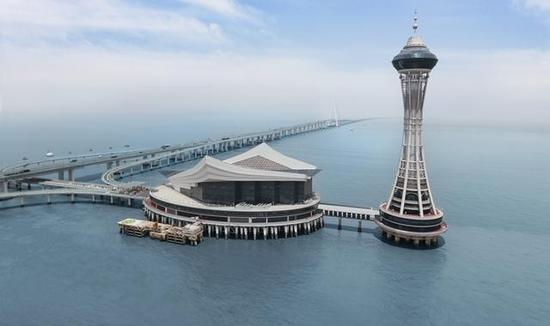 """杭州湾跨海大桥中间的""""海天一洲""""观景平台。"""