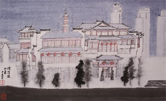 图为童中焘的《城隍庙》。宁波美术馆供图