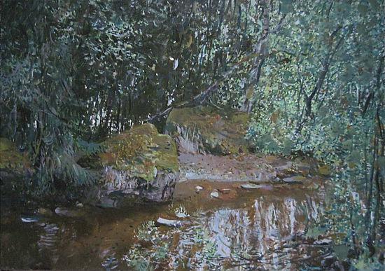 安德烈•亚历山大•丘古诺夫布面油画作品——《林中小溪》 主办方提供