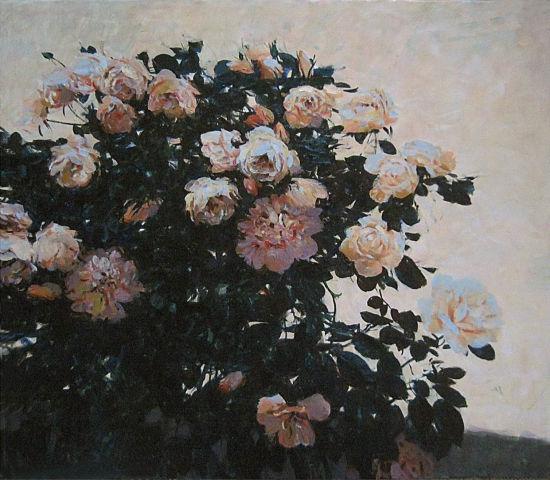 安德烈•亚历山大罗维奇•丘古诺夫布面油画作品——《玫瑰》 主办方提供