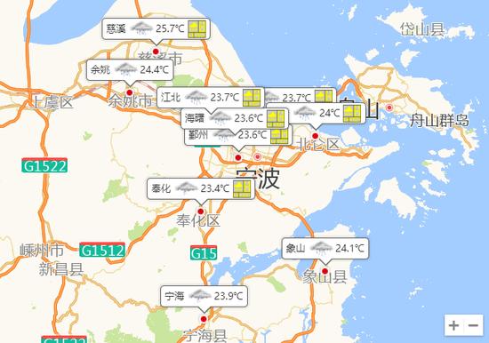 宁波今天阴有大到暴雨 最高气温29度最低气温24度