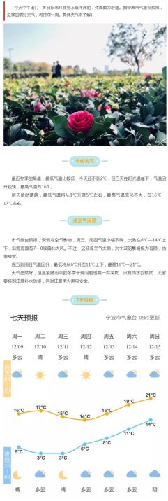宁波本周将进入天气连晴回暖模式 最高气温高达21℃