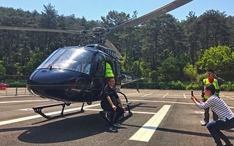 溪口空中游览项目运营 乘坐直升俯瞰雪窦山