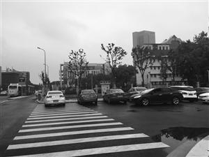 私家车停上斑马线 记者薛曹盛摄