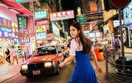孟子义香港夜景街拍 长裙仔裤玩转混搭