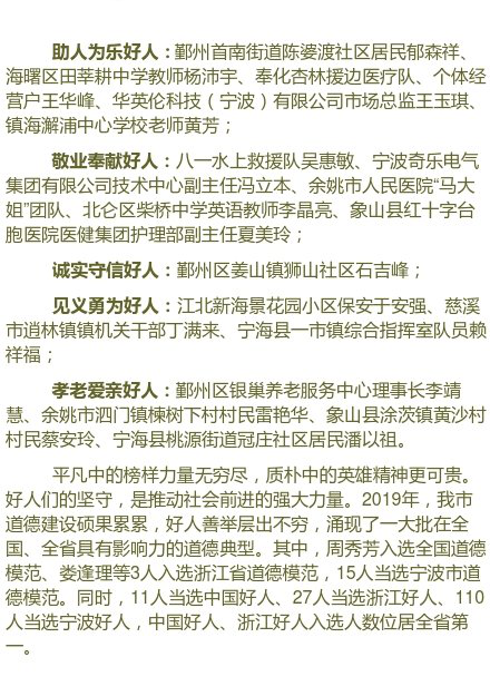 宁海举行2019年宁波好人榜发布活动 共有19人上榜