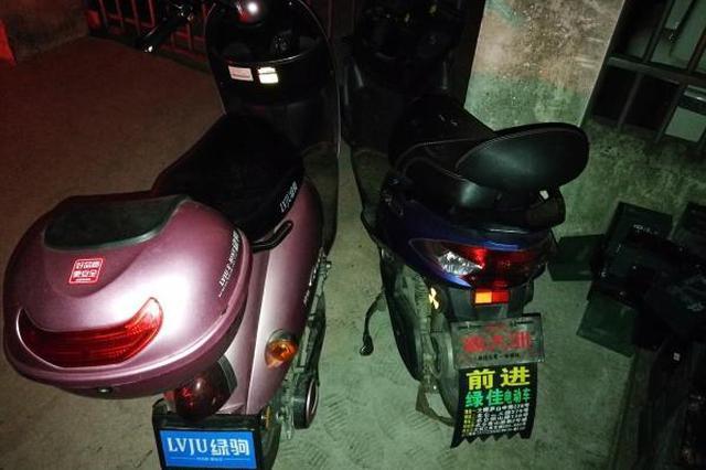 镇海偷车双人组落网 民警从他们住处搜出20多组电瓶