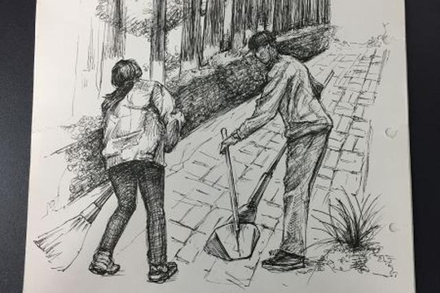 宁波大学学生党员致敬劳动者 用画笔绘最美劳动者