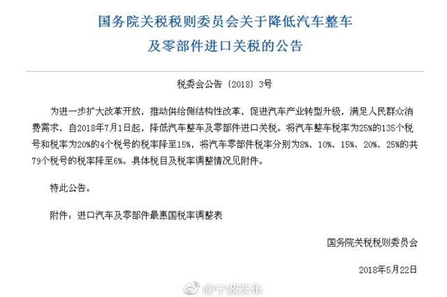 7月1日起 国家降低汽车整车及零部件进口关税