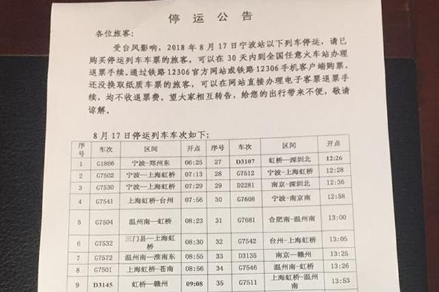 受台风影响 铁路宁波站17日有26趟列车停运