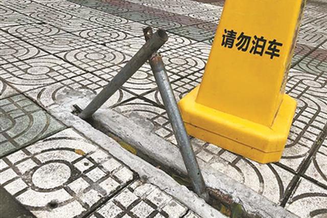石浦大酒店地锁绊倒老人存隐患 海曙城管已责令拆除