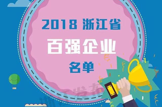 2018浙江百强企业等榜单发布 宁波有多个企业上榜