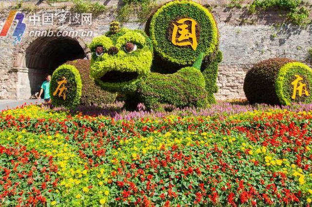 国庆来临 宁波城管园林部门将街头装扮得如诗如画