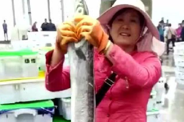 奉化一渔民捕获7斤重带鱼王 被人300元买走