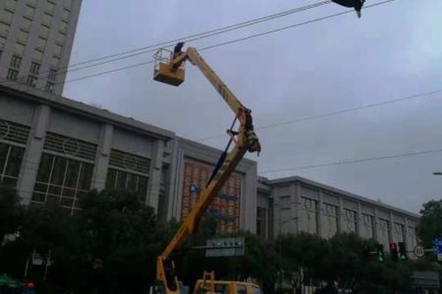 长春路废弃杆线启动拆除工作 昨天清理4500余米线缆