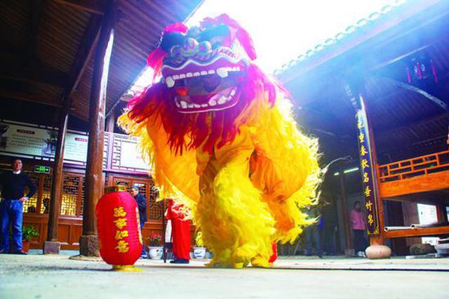 灵南狮舞闹新春 泗洲头镇上马岙村文化礼堂里锣鼓喧天