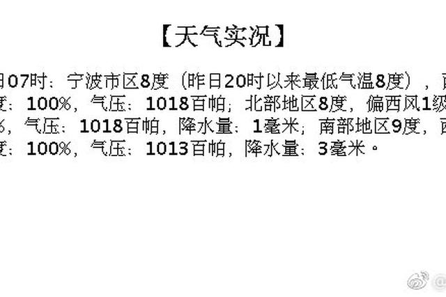 宁波今日阴有雨最高温12度 出行注意预防降雨