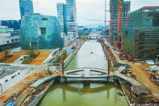 东部新城门户区后塘河上的香奈儿桥现雏形
