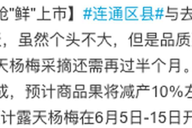 宁波首批地产大棚杨梅抢鲜上市 预计6月开摘上市