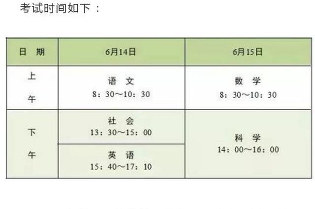 宁波中考考试科目时间考点分布发布 考场纪律早知道
