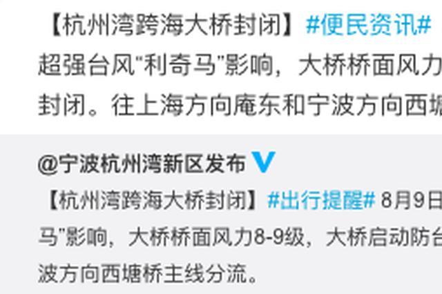受台风影响 杭州湾跨海大桥启动防台应急全桥封闭