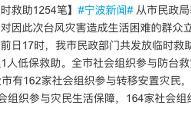 宁波启动救助紧急程序 民政部门发放临时救助1254笔