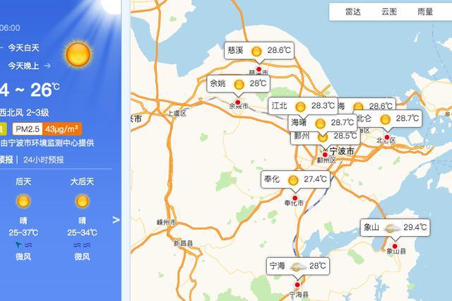 宁波今日多云午后局部阵雨 最高温度33至35摄氏度