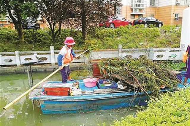 受台风影响鄞州城区河道水位上涨 现已恢复正常保洁