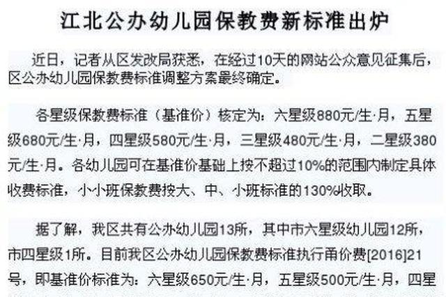江北公办幼儿园保教费新标准出炉 历经十天意见征求