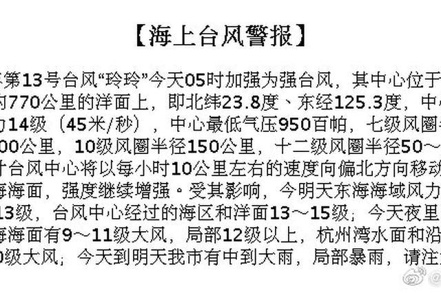 13号台风玲玲加强为强台风 中心位于宁波东南770公里