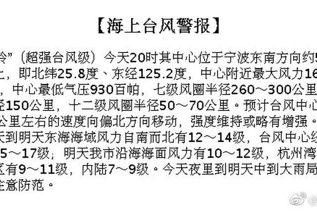 宁波启动防台风Ⅲ级应急响应 全力以赴做好防台工作